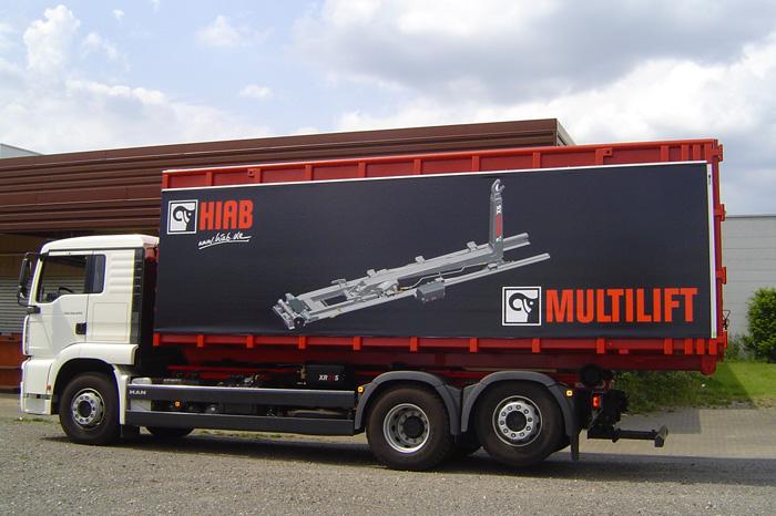 Werbeplanen für Container oder Kofferfahrzeuge