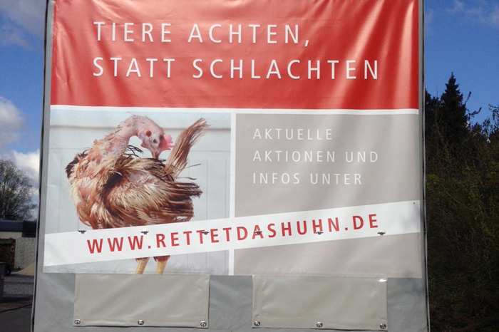Rettet das Huhn Plane und Beschriftung