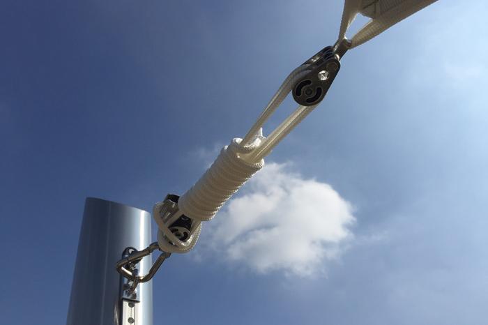 Segel Capemarine mit höhenverstellbarer Travelerschiene mit Edelstahlpfosten